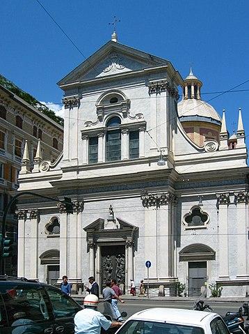 Foto della Chiesa di Nostra Signora della Consolazione e San Vincenzo Martire in via XX Settembre a Genova dove sono stati celebrati i funerali di Clara Ceccarelli
