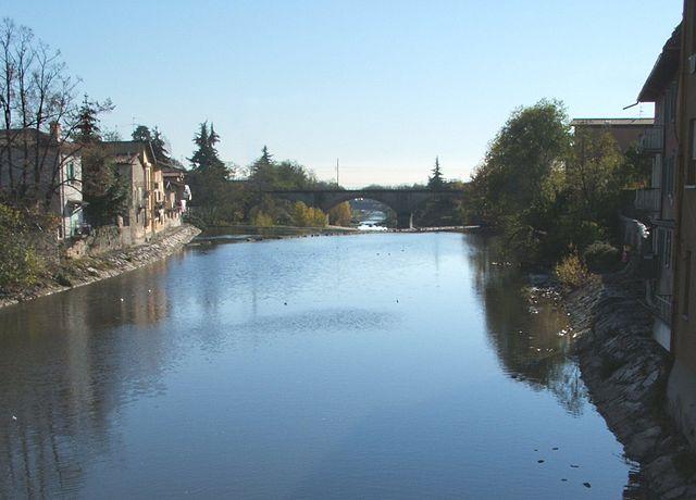 Il fiume Serio che attraversa Seriate