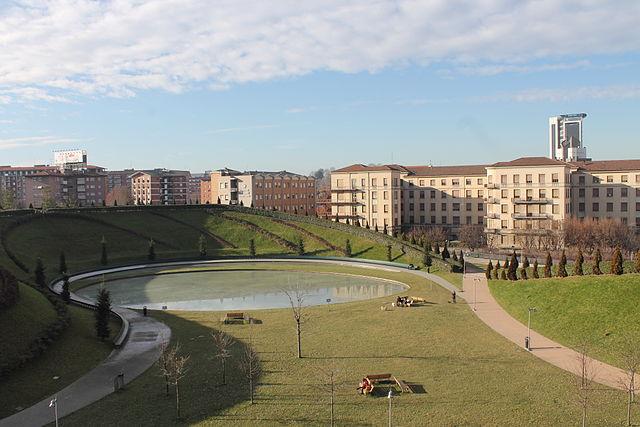 Veduta sul Parco del Portello, poco distante dal luogo del delitto in via Giovanni Antonio Plana a Milano